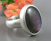 Purple Labradorite Ring Sterling Silver - Purple Labradorite Statement ring - US size 9.5 - oval Labradorite ring - US size 9 1/2