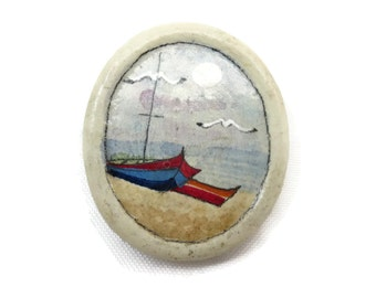 Painted Brooch - Beach Scene, Boats, Summer Jewelry
