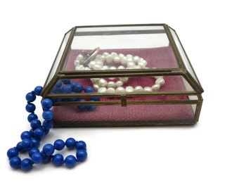 Clear Glass Box Display Case - Square Geometric Glass Jewelry Box