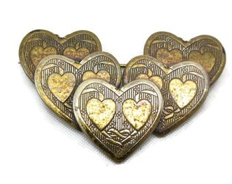 Brass Heart Brooch - Costume Jewelry
