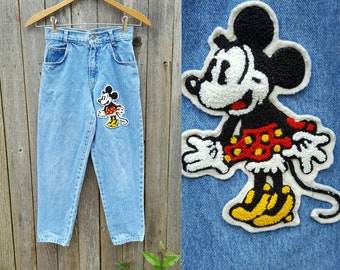 Vintage Kids Jeans  // Vtg Mickey & Co. Light Wash Denim Jeans with Mini Mouse Patch //  child size 6 / 7   yrs