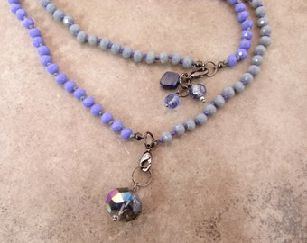 Convertible Hand-knotted Long Bead Necklace in Periwinkle and Grey with Dangles - Item 1560