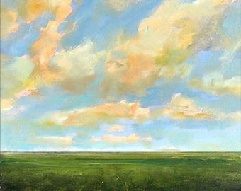 Oil Painting Custom Landscape Modern Abstract Sky Cloud Field 18x18 by J Shears