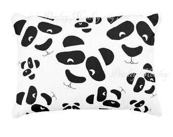 Panda faces toss pillow panda bears panda face black and white custom pillows made to order bear pillow kids teens adults zoo animals