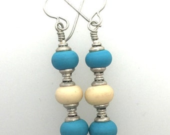 On Sale Turquoise and Ivory Glass Lamp Work and Sterling Silver Earrings