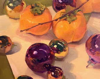 """Art painting still life christmas """"Persimmons and Purple Ornaments"""" by Sarah Sedwick 12x12"""""""