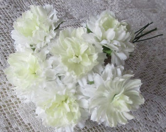 Fabric Millinery Flowers From Austria 6 White Ruffly Chrysanthemums #A52W