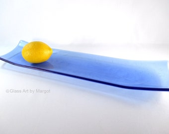 Blue Leaf Design Fused Glass Plate Channel Tray Rectangular Serving