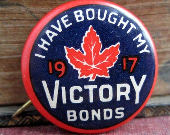 celluloid ww1 pin back button Victory Bonds