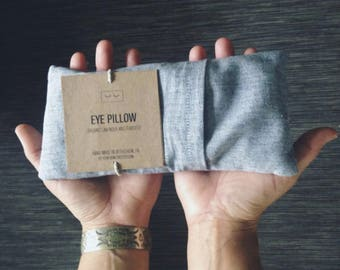 handmade. hand made linen. light chambray fabric organic lavender and flaxseed eye pillow. relaxation. zen.