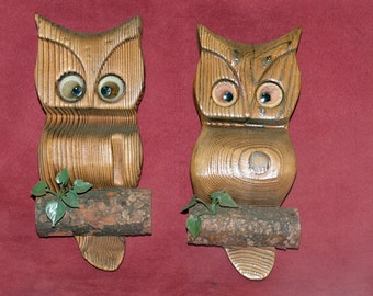 Wooden Owls  - Wall Decor - 1970s - Hand Carved