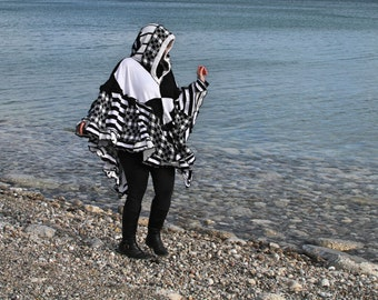 Checkerboard wool free frankensweater poncho capelet upcycled hoodie gypsy coat 137