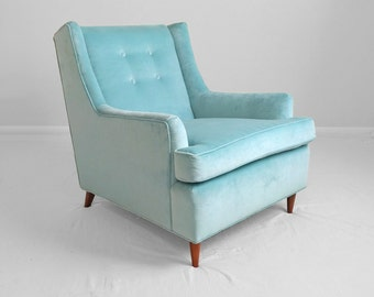 20% SALE 2 mid century modern AQUA blue velvet tufted club chairs