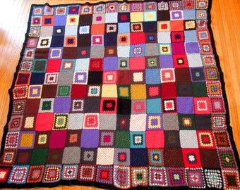 Colorful Vintage Afghan Blanket, Granny Square, Crochet Throw