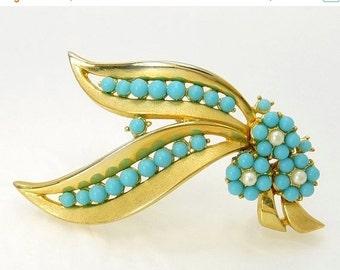 Crown Trifari Turquoise Bead & Pearl Brooch