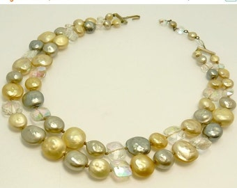 Vintage Double Strand Faux Baroque Pearl Necklace