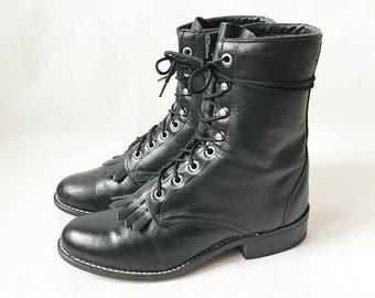 Vintage Laredo Black Lace Up ROPER BOOTS. Size 7 1/2 Women's