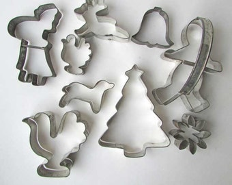 Lot of 9 Vintage Tin Cookie Cutters for Baking, Crafts, Holiday, Santa, Tree, Gingerbread Man, Reindeer, Birds, Snowflake