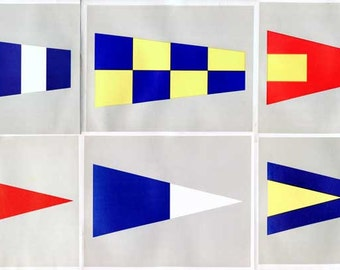 Vintage Naval Signal Flags and Pennants Print Set, 6 Original Prints, 1930's Pennants, Vintage Signal Flag Prints, Minimal Look Wall Decor
