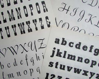 Set of 4 1940's Vintage Typography, Font Alphabets Bookplate Pages for Scrapbooks, Cards, Collage, Four Different Alphabet Letters Pages
