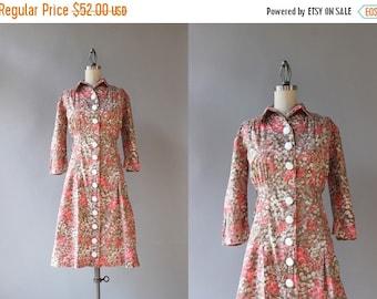 STOREWIDE SALE 1940s Dress / Vintage 50s Pink Floral Day Dress / 40s Cotton Floral Dress
