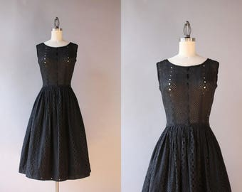 1950s Dress / Vintage 50s Black Cotton Eyelet Dress / 50s Ribbon Laced Eyelet Dress extra small xs