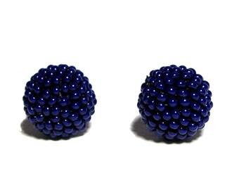Cobalt Blue beaded beads handmade 14mm beads 2pcs