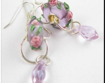 European Style Murano Lampwork Purple Flower Jewelry with Teardrops Chunky Beads Earrings