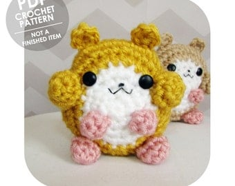 INSTANT DOWNLOAD - cute fat cheeks hamster amigurumi - PDF crochet pattern