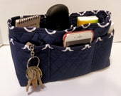 "Purse Organizer Insert/Large/Quilted/4"" Enclosed / Navy and White"
