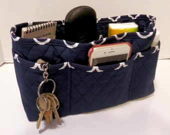 """Purse Organizer Insert/Large/Quilted/4"""" Enclosed / Navy and White"""