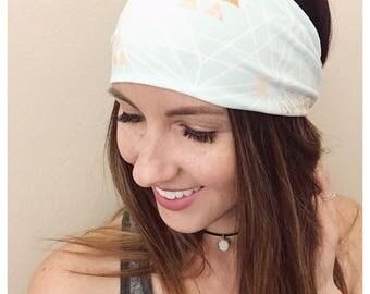 Mint Aztec Headband, Athletic Stretch Headband, Women's Head Wrap, Triangle, Aztec, Hair Accessory, Stretch Knit Wrap, Mint