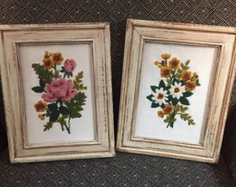 Set of 2 Upcycled Shabby Chic Farmhouse Chippy Frames with Flower Embroidery Free Shipping!