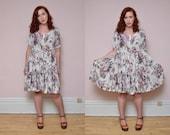 Vintage 90's Floral Print BABYDOLL Mini Dress // GRUNGE Courtney Love Ditzy Dress -  Size S M L