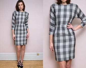 Vintage 80's does 50's Plaid Wiggle Mini Dress // Party Cocktail Retro Checkered -Small / Medium