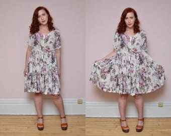 Vintage 90's Floral Print BABYDOLL Mini Dress // GRUNGE Courtney Love Ditzy Dress -  Size S M L