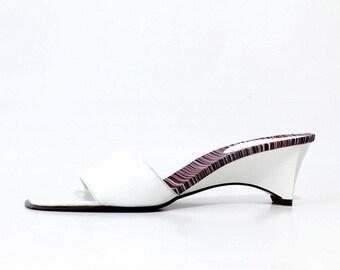 1990s Minimal White Slides Wedges Sandals
