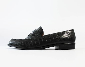1990s Ralph Lauren Black Leather Crocodile Loafers