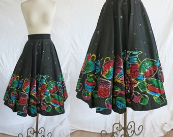 1950s Vibrant Mexican Senorita Hand Painted Circle Skirt - colorful sequin jars