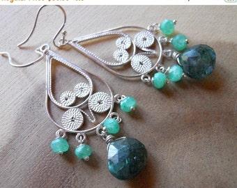 FLASH SALE 20% OFF, Filigree Labradorite and Moonstone Chandelier Earrings, sterling silver