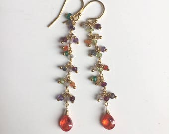 Padparadscha Rainbow Dangle Earrings