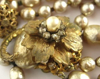 Signed Miriam Haskell Necklace Baroque Pearl Designer Vintage Jewelry Multi Strand Necklace with Gold Flower Center