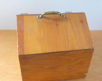 Vintage Primitive Plywood Box • Homemade Wood Storage Box • Vintage Wood Carrying Box