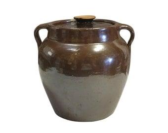 Cook Pot | Dark Brown | Vintage Soup or Bean Server | Retro Pottery | Modern Farmhouse | Country Home Decor