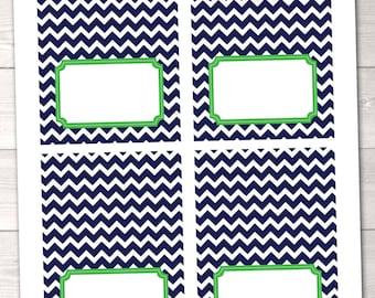 Blue Chevron and Kelly Green Buffet Card Printable Labels - INSTANT DOWNLOAD