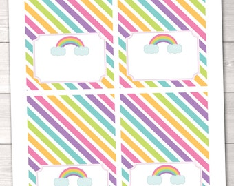 Light Rainbow Stripes Printable Buffet Card Labels - INSTANT DOWNLOAD
