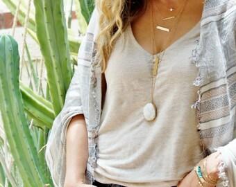 White Druzy Necklace, Long Druzy Necklace, Gold Filled Necklace, Gemstone Necklace, Gold Necklace, Long Layering Necklace, Boho Necklace