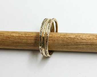 Brass Hammered Gold-tone Stacking Rings