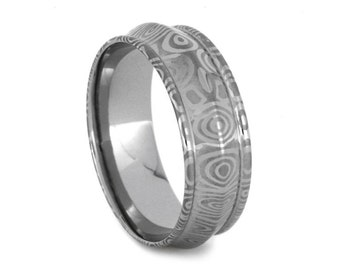 Damascus Wedding Band with Polished Interior and Etched Birds Eye Pattern, Stainless Steel Ring