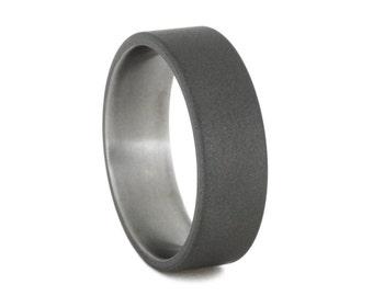 Mens Ring, Sandblasted Titanium Ring, Simple Wedding Band or Anniversary Ring, Engravable Jewelry